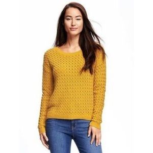 Old Navy Cotton Gold Bars Popcorn Knit Sweater